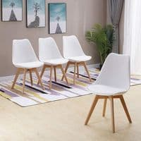 Set of 4 HYGGE White Tulip Pyramid Dining Chairs – Beech Wood Legs